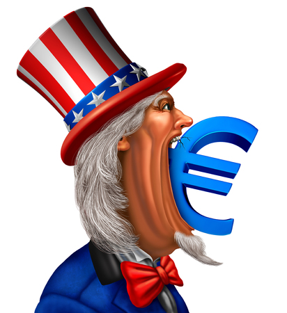 American European economic concept as uncle sam biting into a euro currency symbol as a Europe and United States trade dispute or trade war with 3D illustration elements.