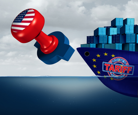 United States tariffs on Europe as protectionist trade and American tariff stamp imposed on european union goods as an economic taxation dispute over import and exports concept as a 3D illustration.