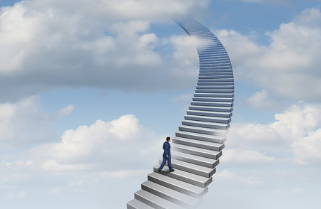 Businessman climbing a career ladder concept as a stairway going up as a success climb towards opportunity with 3D illustration elements.
