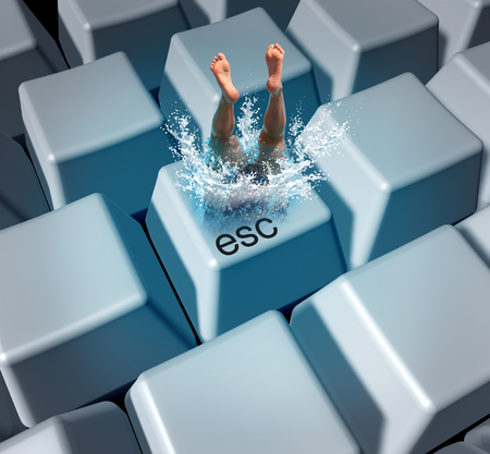 Work escape and office rest and relaxation concept as an employee worker diving into a computer keyboard with 3D illustration elements.