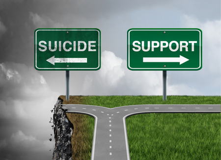Suicide and support or severe depression risk of hopelessness as a mental illness therapy health concept as a permanent solution to a temporary state of mind symbol as a 3D illustration. Stock Photo