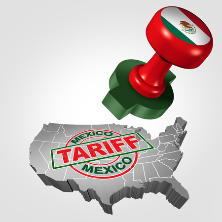 Mexico tariff on United States as steel and aluminum tariffs as a stamp on text as an economic trade taxation NAFTA dispute over import and exports concept with 3D illustration elements.