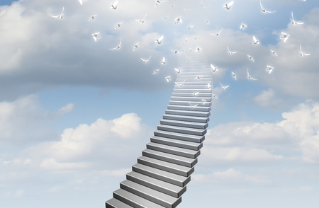 Stairway to heaven concept as stairs going up to a glowing bright sky as a symbol for faith and hope with 3D illustration elements.