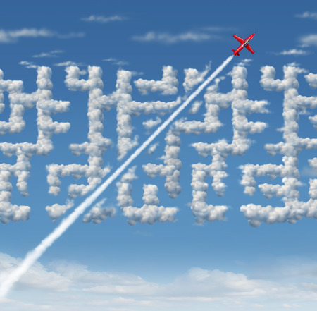 Business leader concept as strategic innovative success thinking as a plane finding a short cut to a cloud maze with 3D illustration elements.