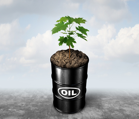 Replacing petroleum oil and alternative energy concept as a crude can with a plant growing as an industry symbol for green fuel with 3D illustration elements.