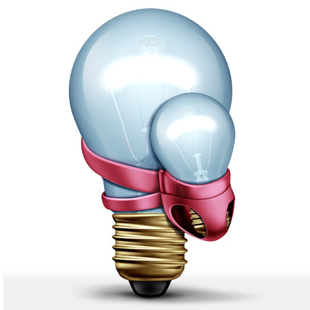 New idea creative concept and parenting solution as a lightbulb carrying a baby light as a 3D illustration.