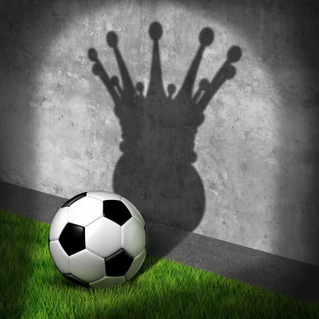 Soccer champion and international football winner concept as a ball casting a shadow wearing a king crown as a metaphor for visualizing victory on the field as a 3D illustration.
