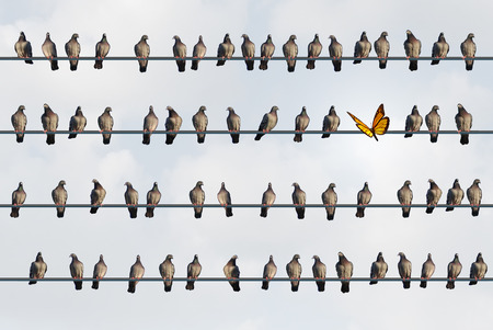Newcomer concept and migration idea as a Mexican monarch butterfly on a wire with a group of urban northern pigeons with 3D illustration elements. Stock Photo