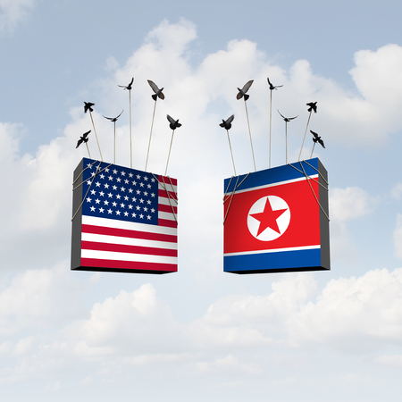 United States and North Korea diplomacy agreement and American and North Korean diplomatic meeting with pyongyang and washington connecting together as a 3D illustration. 写真素材