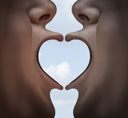 Love psychology and relationship idea as two people uniting together to form a heart shape with their lips as a romance communication symbol in a 3D illustration style.