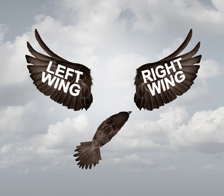 Political crisis as a destructive right wing and left wing political problem and ideology divided mentality crisis as tribal opposition in a 3D illustration style. Stock Photo