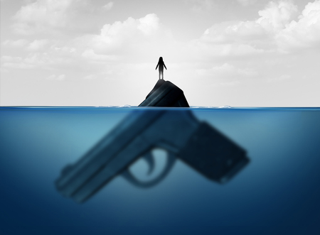Gun concept as a child standing on a giant firearm submerged in water as a symbol for guns and violence and the risk of weapons on vulnerable children with 3D illustration elements. Stock Photo