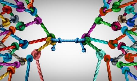 Connecter les équipes et le concept de groupe connecté autant de cordes différentes liées et liées entre elles comme une chaîne incassable que la métaphore de la confiance commerciale reliant les partenaires pour le soutien et la force du travail d'équipe.