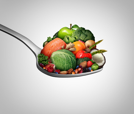 Supplements vitamins as a spoon with fruit vegetables nuts and beans as a natural medicine health food treatment with 3D illustration elements.