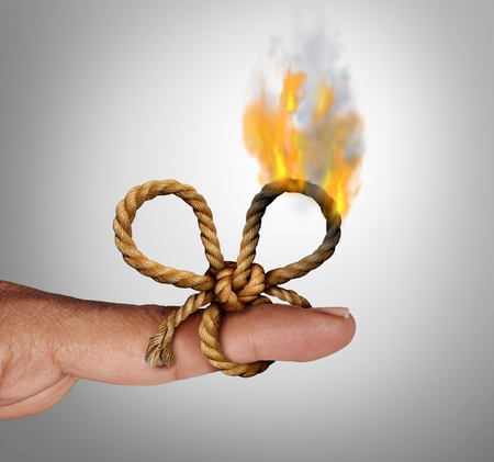 Losing memories as a burning remember knot and reminder symbol as a string tied on a finger forgetting a future planned event with 3D illustration elements. Stock Photo