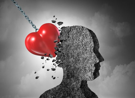 Love pain as a broken hearted psychology of relationship concept with 3D illustration.