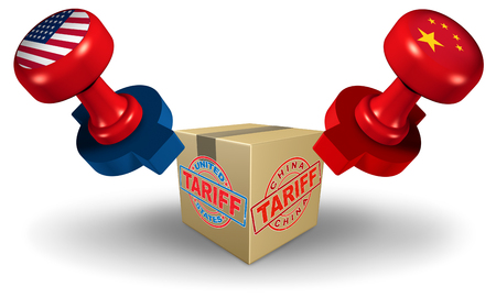 China USA tariff dispute as a trade war and United States or American tariffs as two opposing stamps on goods as an economic  taxation over import and exports concept as a 3D illustration.