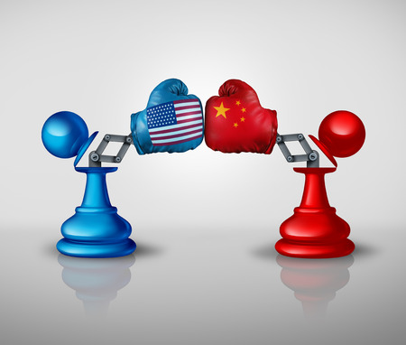 China United States Trade War Strategy and American tariffs conflict with two chess pawns trading fight as an economic import and exports dispute concept with 3D illustration elements Stock Photo