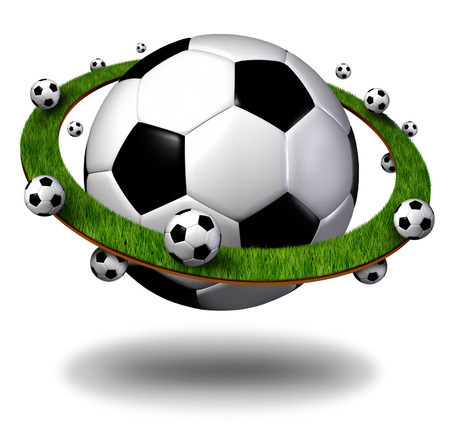 Global soccer symbol and international football concept as a planet shaped ball with grass field ring with balls as a world sport competition as a 3D illustration.
