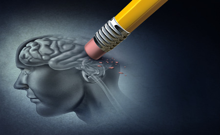 Concept of memory loss and dementia disease and losing brain function memories as an alzheimers health symbol of neurology and mental problems with 3D illustration elements. Stock Photo