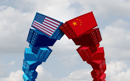 US China trade war and United States or American tariffs as two groups of opposing cargo containers as an economic  taxation dispute over import and exports concept as a 3D illustration. 스톡 콘텐츠