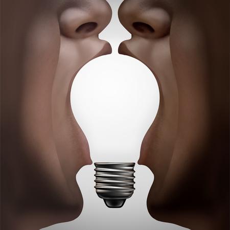 Les gens pensent que le partenariat pense ensemble comme des partenaires divers qui se réunissent et joignent des idées sous la forme d'une ampoule inspirante comme une métaphore de soutien à la diversité avec des éléments 3D. Banque d'images