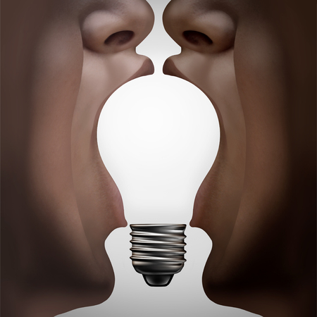 People think partnership thinking together as diverse partners coming together joining ideas in the shape of an inspirational light bulb as a diversity support metaphor with 3D elements.