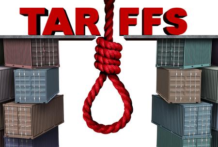 Tariffs danger financial concept as an imports exports economic taxation dispute risk with 3D illustration elements. Foto de archivo - 103621904