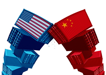 US China tariff dispute trade war and United States or American as two groups of opposing cargo containers as an economic taxation conflict over import and exports concept as a 3D illustration.