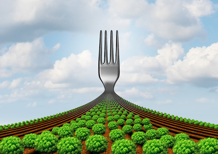 Farm to fork agriculture production symbol as a surreal harvest and fresh food concept with 3D render elements.