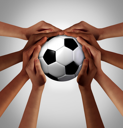 People soccer playing together as a diverse group of players as a symbol of sport diversity in an international game with hands holding a ball as a world sport competition with 3D illustration elements.