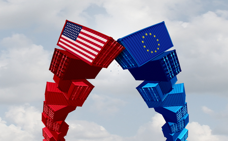 US Europe and USA trade war and American tariffs as two opposing cargo freight containers in European Union economic conflict as a dispute over import and exports as a 3D illustration.