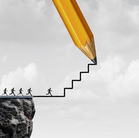 Opportunity success action help concept as a pencil drawing stairs for helping business people or motivation for climbing towards opportunities with 3D render elements.