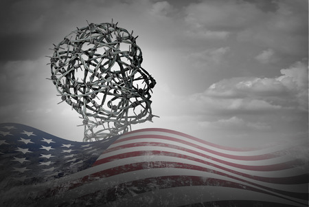 American illegal immigration and United States border security law as a social issue with a refugee or displaced person shaped as barbed wire with US flag with 3D render elements.