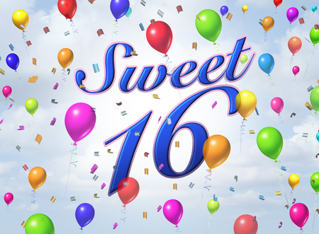 Sweet sixteen teenager celebration greeting card design with confetti and balloons as a 3D render.