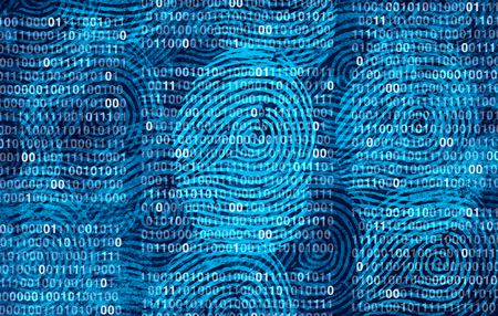 Privacy user data as an abstract personal private information security technology as a social media and public profile sharing of lifestyle as diverse fingerprints in a 3D illustration style. Stock Photo