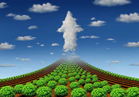 Farming increase and successful agriculture or farm output as growing food production in a 3d illustration elements.