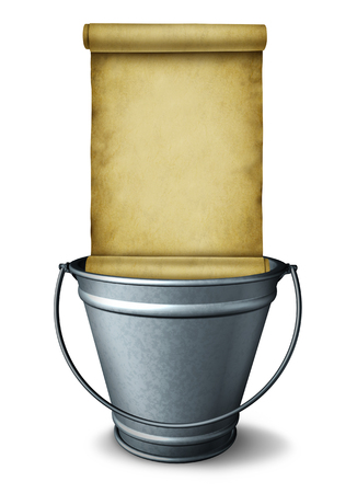 Bucket list goal planning symbol as a pail with a blank scroll as a wish checklist or resolution ambition icon as a 3D render on a white background.