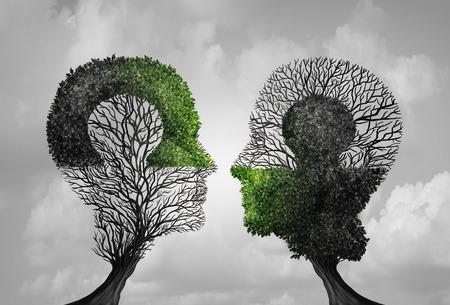Concetto di psicologia e idea di psichiatria come simbolo per la terapia psicologica e l'incontro di puzzle di pensiero costruttivo in uno stile di illustrazione 3D.