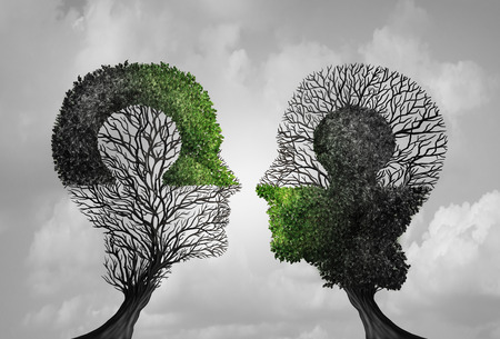 Psychologiekonzept und Psychiatrieidee als Symbol für Psychologentherapie und konstruktives Denkpuzzletreffen in einem 3D-Illustrationsstil.