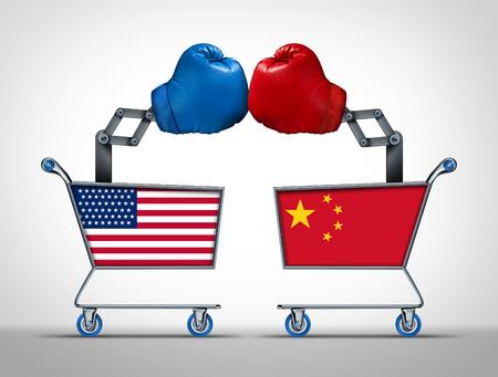 Handelskrieg der Vereinigten Staaten und Chinas sowie wirtschaftlicher Zollstreit und Finanzmarktverhandlungen zwischen der amerikanischen und der chinesischen Regierung mit 3D-Illustrationselementen. Standard-Bild - 104003181