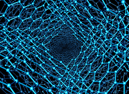 Nanotechnology background illustration as a graphene atomic structure as a 3D render. Stock Photo