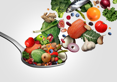 Healthy food eating that is good for the heart as fruit vegetables fish and berry with nutritious nuts on a spoon as good for heart health ingredients with 3D render elements.