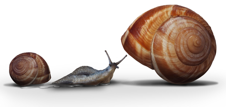 Upsizing moving from a smaller home to a bigger house as a snail leaving on older smaller shell towards a spacious roomy improvement in a 3D illustration style.