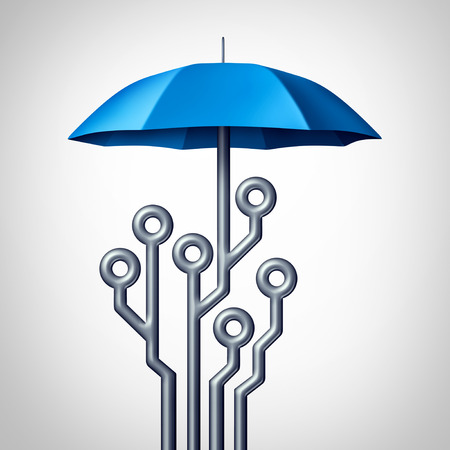 Software protection and antivirus technology security shield symbol as an umbrella shaped as a computing circuit as a 3D render.