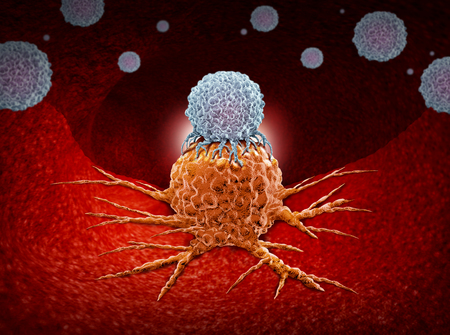 Immunotherapy as a human immune system therapy concept as a biomedical or biomedicine oncology treatment using the natural cancer fighting properties of the body as a 3D render.