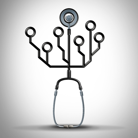 Medicine technology and digital health or medical data concept as a doctor stethoscope shaped as an electronic circuit as a 3D illustration. Stock Photo