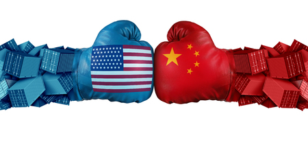 China United States or USA trade and American tariffs conflict with two opposing trading partners as an economic import and exports dispute concept with 3D illustration elements.