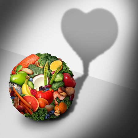 Heart health food ingredients as a cardiovascular diet nutrition concept in a 3D illustration style.