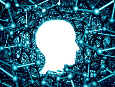 Nano science research nanotechnology scientific researcher concept as a hexagon graphene atomic structure shaped as a human head as a 3D render.